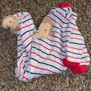Blue, red, gray footie pajamas